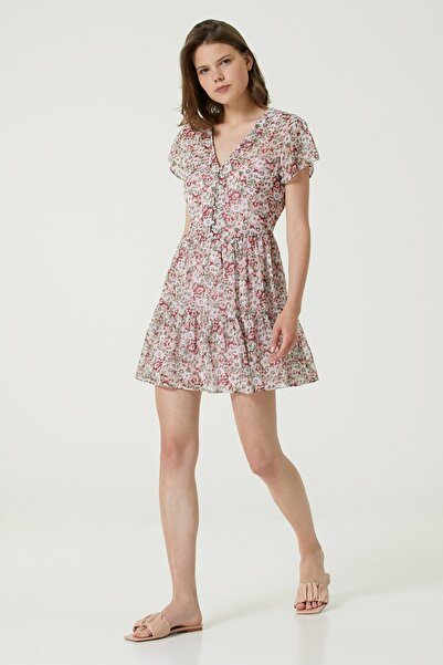 Network Kadın Basic Fit Pembe V Yaka Çiçekli Mini Elbise 1079825