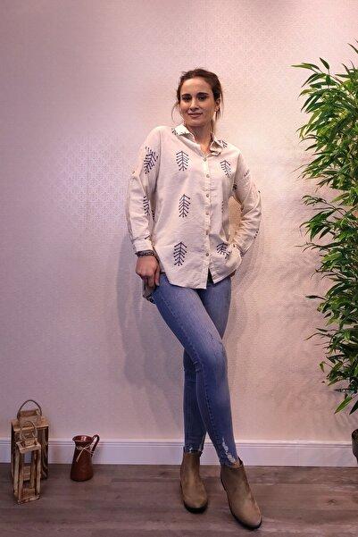 Patiska Önü Kısa Arkası Uzun Desenli Gömlek