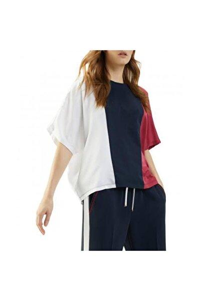 Tommy Hilfiger Oversize Burgundy / Black / White Color Block T-shirt Blouse