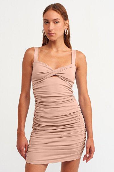 Dilvin Kadın Ten Büzgü Detaylı Elbise 101A09100