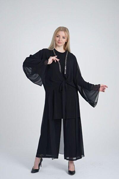 Orhan Taş Şerit Işlemeli Tunik Pantolon Ikili Takım - Siyah