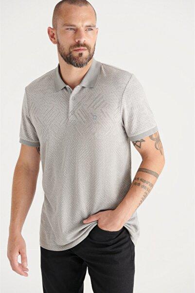Avva Erkek Gri Polo Yaka Jakarlı Slim Fit T-shirt A11y1199