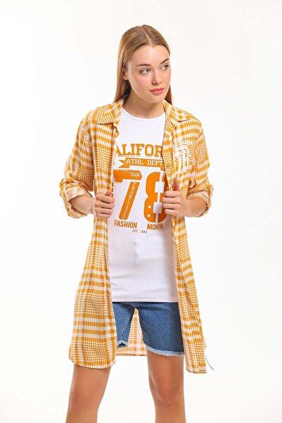 Daisy Kadın Gömlek Sarı İkili Takım Gömlek Ve T-shirt