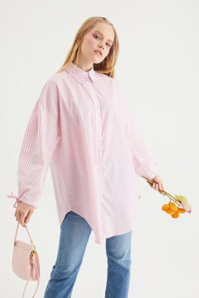 Hooopstore Balon Kol Çizgili Gömlek - Pembe