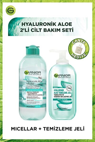 Garnier Hyaluronik Aloe 2li Cilt Bakım Seti - Temizleme Jeli & Micellar Kusursuz Makyaj Temizleme Suyu 400ml