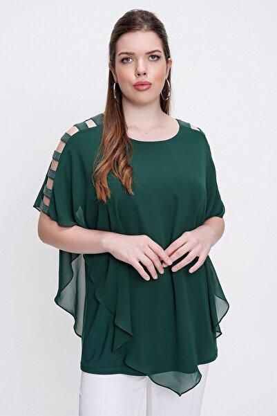 By Saygı Kolları Şeritli Üstü Şifon Büyük Beden Bluz Yeşil