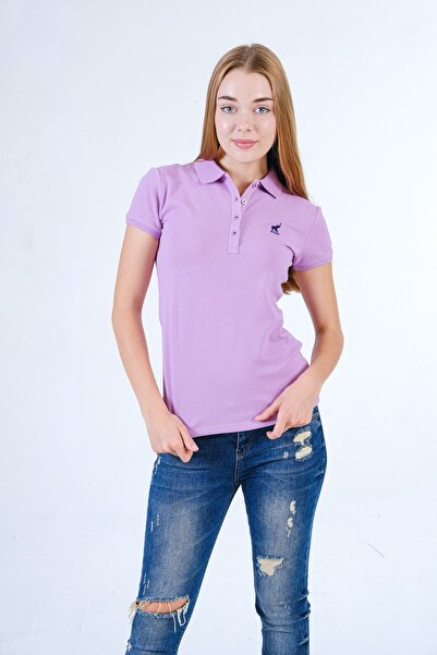 posmy Lila Polo Yaka Kadın Kısa Kollu T-shirt