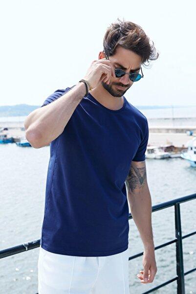 Sateen Men Erkek Lacivert B. Yaka Kısa Kol T-Shirt