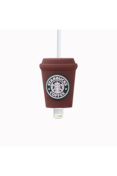 ggcoverstore Kahverengi Starbucks'lı Kablo Koruyucu