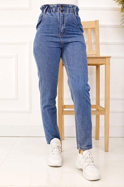 İmajButik Yüksek Bel Beli Lastikli Mom Jean Kot Pantolon Açık Mavi