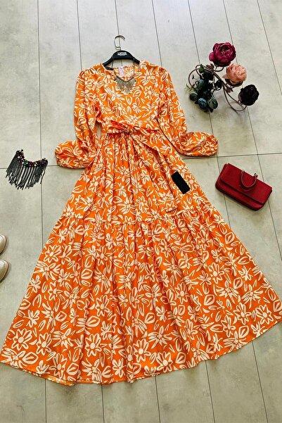 InStyle Sümbül Desenli Mevlana Kol Kuşaklı Elbise - Oranj