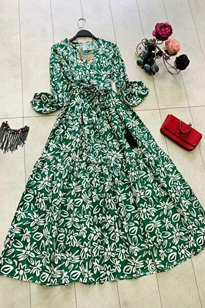 InStyle Sümbül Desenli Mevlana Kol Kuşaklı Elbise - Yeşil