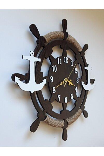 HMA TASARIM D Dekoratif Ahşap Gemi Dümeni Duvar Saati