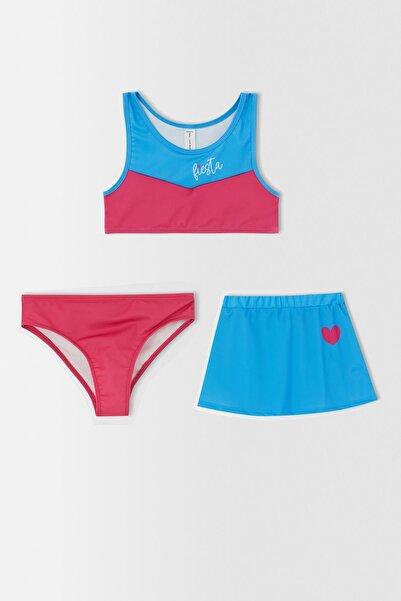 DeFacto Kız Çocuk Renk Bloklu Esnek Bikini Ve Etek Takımı