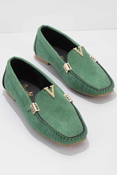 Bambi Yeşil Süet Kadın Loafer Ayakkabı K01542030465
