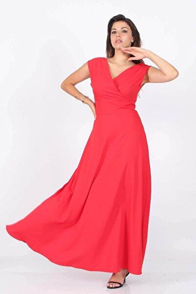 Neşeli Butik Kadın Omuz Detaylı Kayık Yaka Uzun Abiye Elbise Nb8076