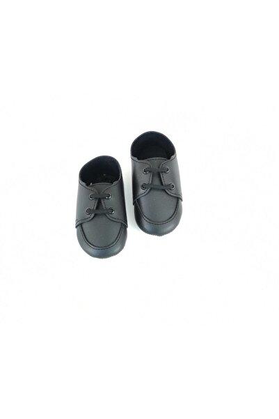 Funny Deri Bağcıklı Siyah Bebek Ayakkabı