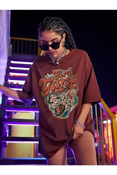 Millionaire Kadın Girl Gang Bordo Oversize T-shirt