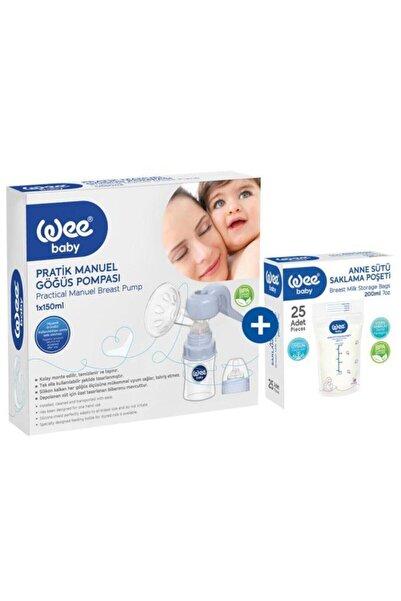 Wee Baby Wee Pratik Manuel Göğüs Pompası Anne Sütü Saklama Poşeti Set /
