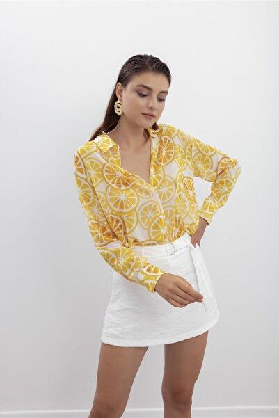 Superb Sisters Limon Baskılı Şifon Gömlek
