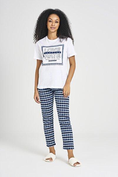 DAKSEL MODA Kadın Alt/üst Kısa Kol Pijama Baskılı Mavi