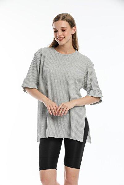 Zoze Tekstil Kadın Kaşkorse Gri Yırtmaçlı Duble Kol T-shirt