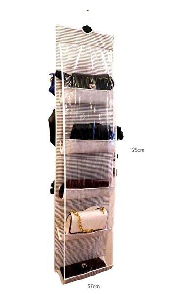 Vivyan 10 Gözlü Çanta Askılığı Organizer Çizgili Model Çanta Düzenleyici