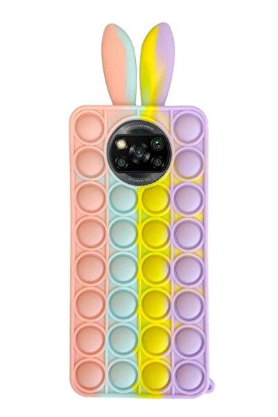 MobilCadde Xiaomi Poco X3 / X3 Pro Push Pop Bubble Tavşan Mor-sarı Silikon Kılıf