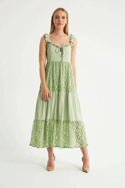 Robin Dantel Detaylı Askılı Elbise Mint