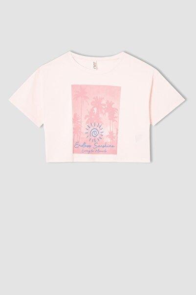 DeFacto Kız Çocuk Baskılı Kısa Kollu Crop Tişört