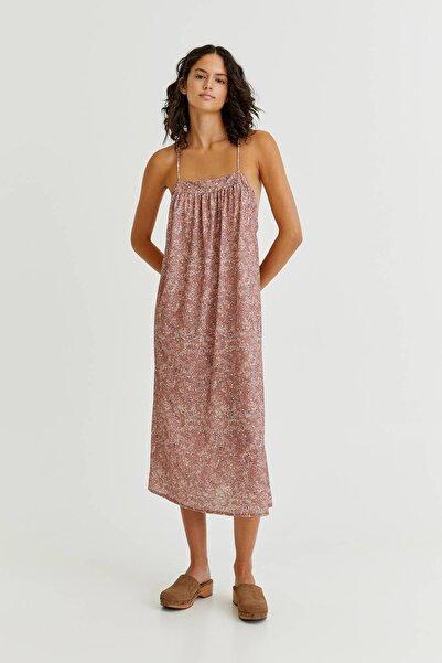 Pull & Bear Vintage Desenli Uzun Elbise