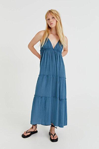 Pull & Bear Sırtı Açık Askılı Uzun Elbise
