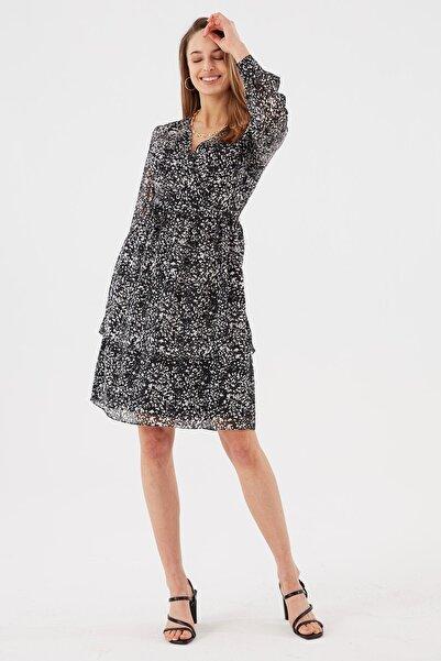 Chima Kadın Siyah Üstü Kruvaze Şifon Elbise