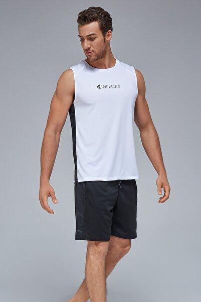 İnfluex Kamuflaj Şerit Detaylı Erkek Sporcu Atlet Beyaz X21-2210