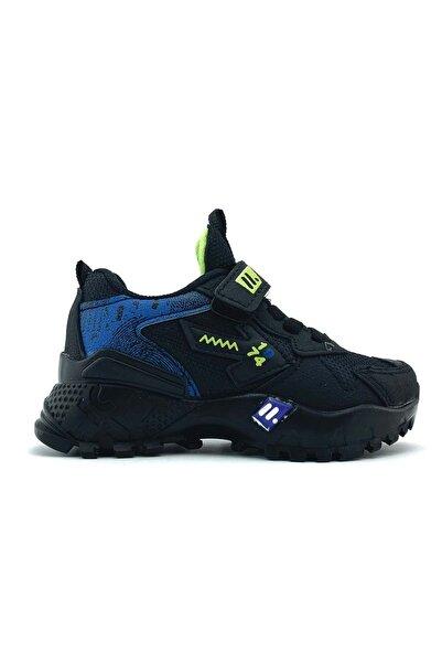 Mnk Çırtçırtlı Siyah Mavi Erkek Çocuk Spor Ayakkabı