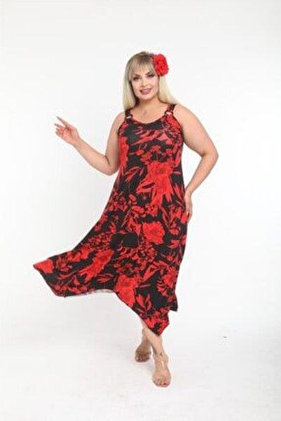 Kadın Askılı Kırmızı Yaprak Desen Toka Detaylı Elbise