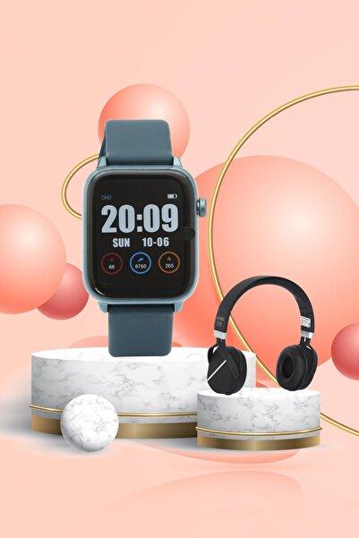 Daniel Klein Smart Watch Mavi Akıllı Saat + Bluetooth Kulaklık + Ekran Koruyucu
