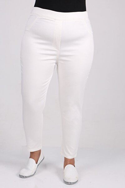 Eslina Büyük Beden Beli Lastikli Dar Paça Kot Pantalon-beyaz