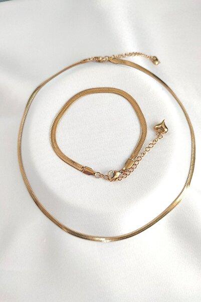 By Meriç Kadın Italyan Ezme Zincir Altın Renk Çelik Kolye Ve Bileklik Seti