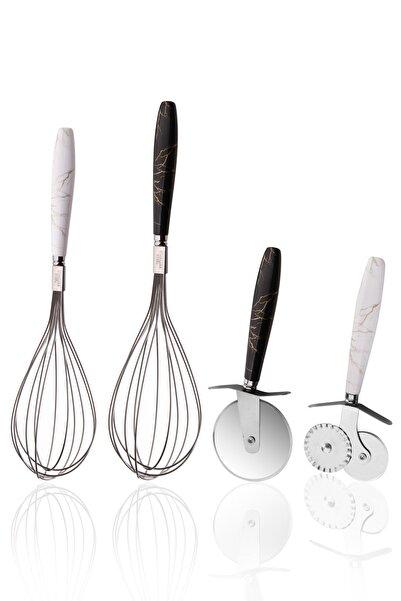 Queen's Kitchen 4 Parça Mermer Desenli Çelik Set