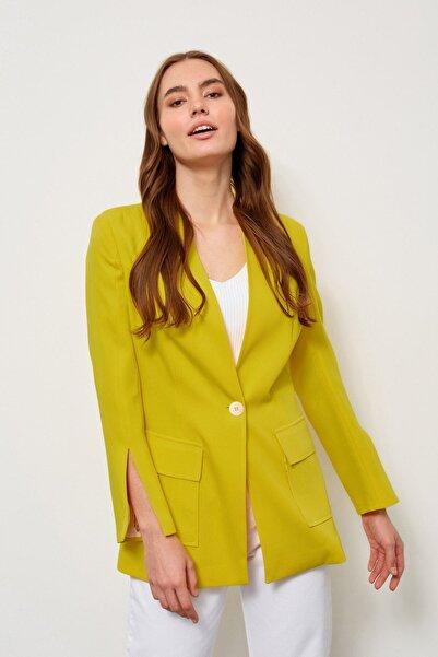 Setre Kadın Sarı Kolları Yırtmaçlı Ceket