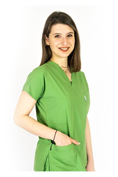 Simirna Üniforma Cerrahi Doktor Hemşire Forması Fıstık Yeşili Üst