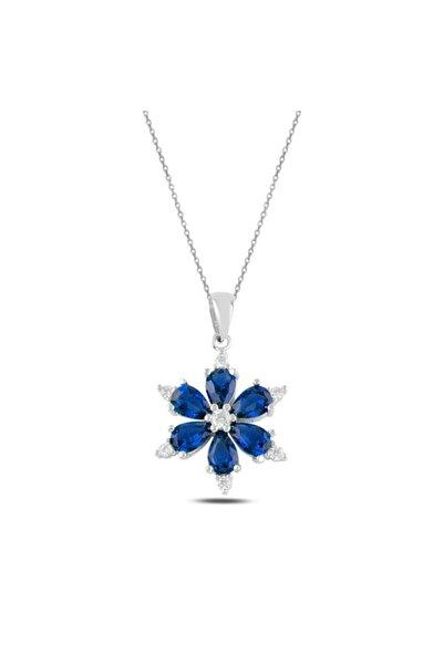 Silverella Gümüş 925 Ayar Lotus Çiçeği Renkli Damla Zirkon Taşlı Kolye