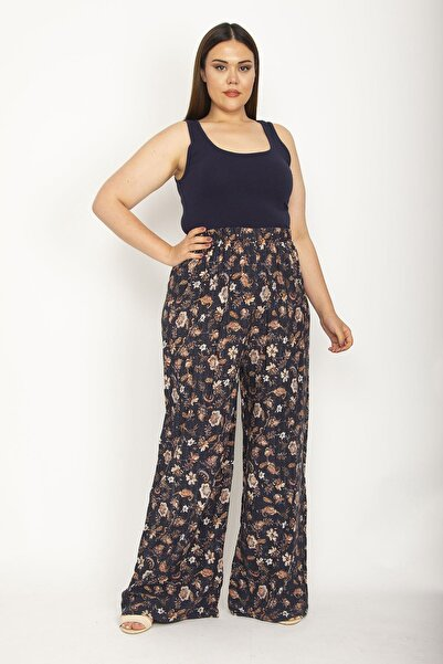 Şans Kadın İndigo Beli Lastikli Geniş Paça Rahat Kesim Desenli Pantolon 65N26839