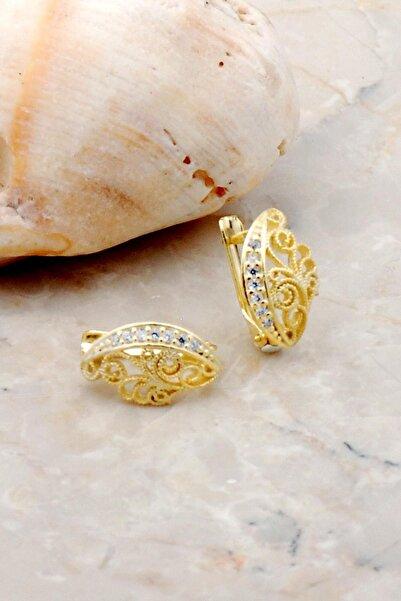 Sümer Telkari Altın Yaldızlı Telkari Elişi Gümüş Küpe 5260