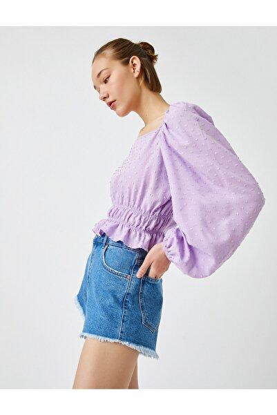 Koton Kadın LİLA Balon Kol Bluz Kare Yaka
