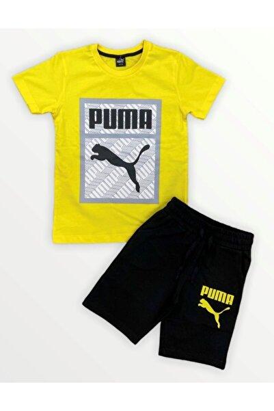 Puma Erkek Çocuk Sarı Şortlu Takım