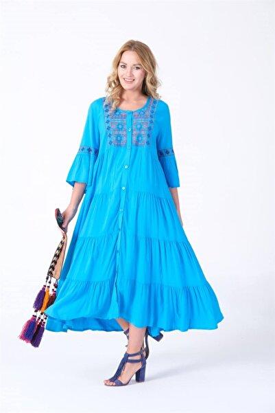 Yaz Kış İndirim Kadın Turkuaz Otantik Yazlık Pamuklu Büyük Beden Elbise 3704