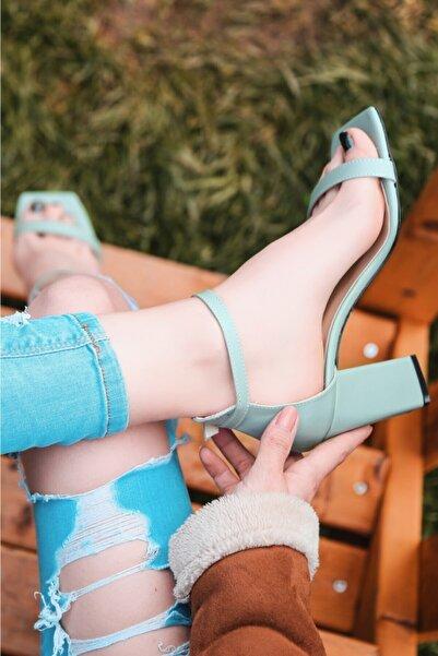 ERBİL Siga Su Yeşili Cilt Topuklu Ayakkabı Numara 35