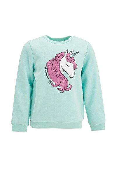 DeFacto Kız Çocuk Unicorn Baskılı Selanik Sweatshirt